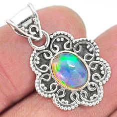 2.92cts natural multi color ethiopian opal 925 sterling silver pendant t3073