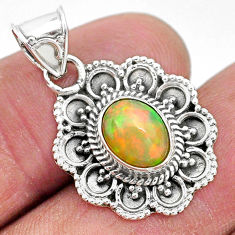 3.29cts natural multi color ethiopian opal 925 sterling silver pendant t3075