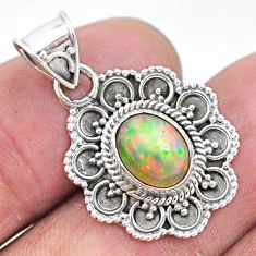 3.09cts natural multi color ethiopian opal 925 sterling silver pendant t3087