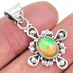 2.92cts natural multi color ethiopian opal 925 sterling silver pendant t3091