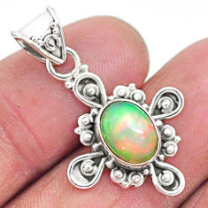 3.05cts natural multi color ethiopian opal 925 sterling silver pendant t3093