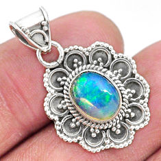 3.29cts natural multi color ethiopian opal 925 sterling silver pendant t3096