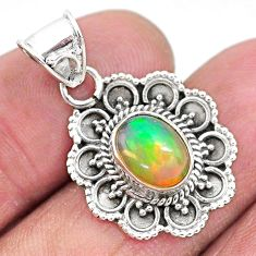 3.05cts natural multi color ethiopian opal 925 sterling silver pendant t3099