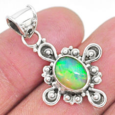 2.89cts natural multi color ethiopian opal 925 sterling silver pendant t3101