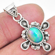2.89cts natural multi color ethiopian opal 925 sterling silver pendant t3107