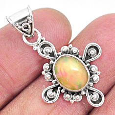 3.09cts natural multi color ethiopian opal 925 sterling silver pendant t3114