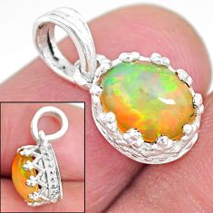 2.65cts natural multi color ethiopian opal 925 sterling silver pendant t8062