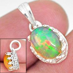 2.65cts natural multi color ethiopian opal 925 sterling silver pendant t8066