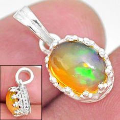 2.46cts natural multi color ethiopian opal 925 sterling silver pendant t8067