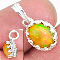 2.63cts natural multi color ethiopian opal 925 sterling silver pendant t8070