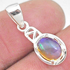 2.02cts natural multi color ethiopian opal 925 sterling silver pendant t9114