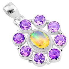 10.13cts natural multi color ethiopian opal amethyst 925 silver pendant r72176