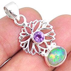 3.82cts natural multi color ethiopian opal amethyst 925 silver pendant r75456
