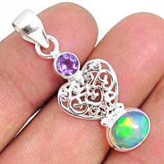 3.82cts natural multi color ethiopian opal amethyst 925 silver pendant r75470