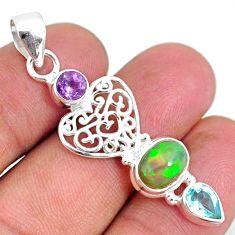 5.24cts natural multi color ethiopian opal amethyst topaz silver pendant r75462