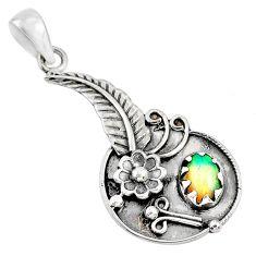1.96cts natural multi color ethiopian opal silver dreamcatcher pendant r67814