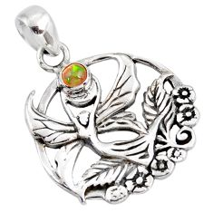 0.58cts natural multi color ethiopian opal silver guardian angel pendant d39455
