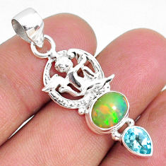 4.84cts natural multi color ethiopian opal topaz 925 silver angel pendant r75461