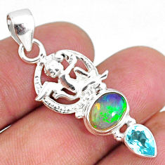 4.64cts natural multi color ethiopian opal topaz 925 silver angel pendant r75465