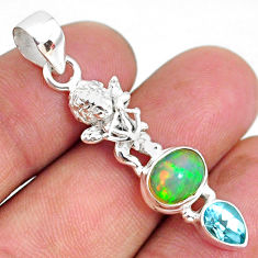 4.82cts natural multi color ethiopian opal topaz 925 silver angel pendant r75466