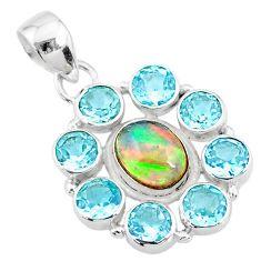 10.60cts natural multi color ethiopian opal topaz 925 silver pendant r72161