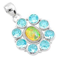 10.17cts natural multi color ethiopian opal topaz 925 silver pendant r72164