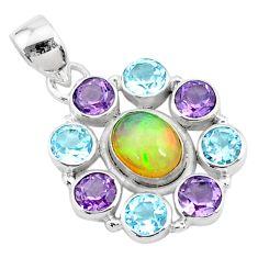 10.13cts natural multi color ethiopian opal topaz 925 silver pendant r72169