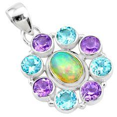 10.13cts natural multi color ethiopian opal topaz 925 silver pendant r72177