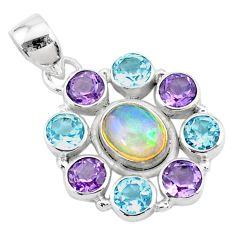 10.85cts natural multi color ethiopian opal topaz 925 silver pendant r72179