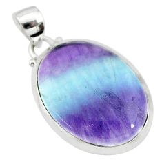 16.28cts natural multi color fluorite 925 sterling silver pendant jewelry t21301