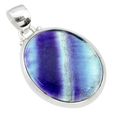 16.82cts natural multi color fluorite 925 sterling silver pendant jewelry t21302