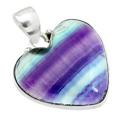 11.62cts natural multi color fluorite 925 sterling silver pendant jewelry t21303
