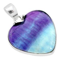 17.22cts natural multi color fluorite 925 sterling silver pendant jewelry t21316