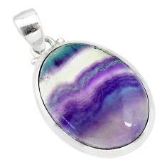 17.39cts natural multi color fluorite 925 sterling silver pendant jewelry t21317