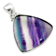 15.65cts natural multi color fluorite 925 sterling silver pendant jewelry t21323