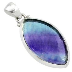 13.08cts natural multi color fluorite 925 sterling silver pendant jewelry t21326