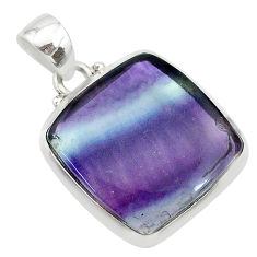 15.68cts natural multi color fluorite 925 sterling silver pendant jewelry t21330