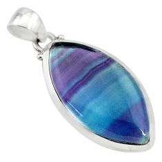 15.65cts natural multi color fluorite 925 sterling silver pendant jewelry t21331