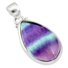 13.68cts natural multi color fluorite 925 sterling silver pendant jewelry t21341