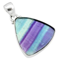 14.23cts natural multi color fluorite 925 sterling silver pendant jewelry t21346