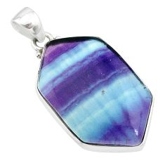 19.72cts natural multi color fluorite 925 sterling silver pendant jewelry t21372