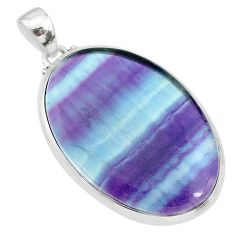 29.93cts natural multi color fluorite 925 sterling silver pendant jewelry t21377