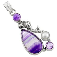 Clearance Sale- 19.00cts natural multi color fluorite amethyst 925 silver fish pendant d43726