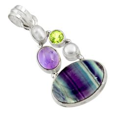 Clearance Sale- 16.92cts natural multi color fluorite amethyst pearl 925 silver pendant d43723