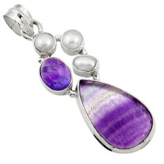 Clearance Sale- 16.15cts natural multi color fluorite amethyst pearl 925 silver pendant d43728