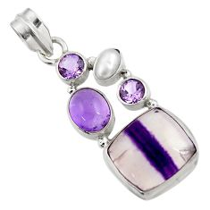 Clearance Sale- 14.88cts natural multi color fluorite amethyst pearl 925 silver pendant d43730
