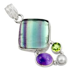 Clearance Sale- 18.97cts natural multi color fluorite amethyst pearl 925 silver pendant d43734