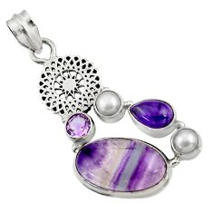 13.41cts natural multi color fluorite amethyst pearl 925 silver pendant d43736