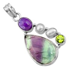 19.82cts natural multi color fluorite amethyst pearl 925 silver pendant d43862