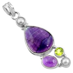 18.47cts natural multi color fluorite amethyst pearl 925 silver pendant d43865